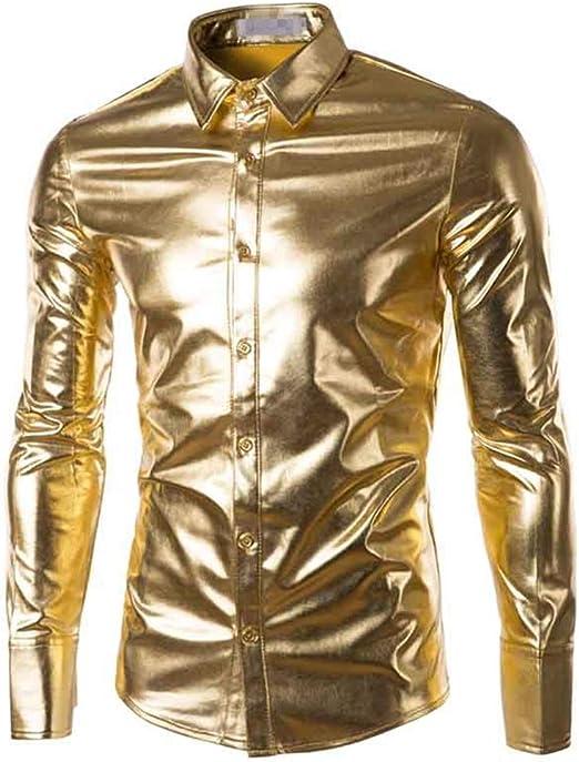 Weentop Hombres metálico Brillante Discoteca Slim Fit Cuello de Solapa Camisa con Botones de Manga Larga Camisa de Caballero para la Fiesta del Disco Banquete Clubwear (Color : Oro, tamaño : Metro):