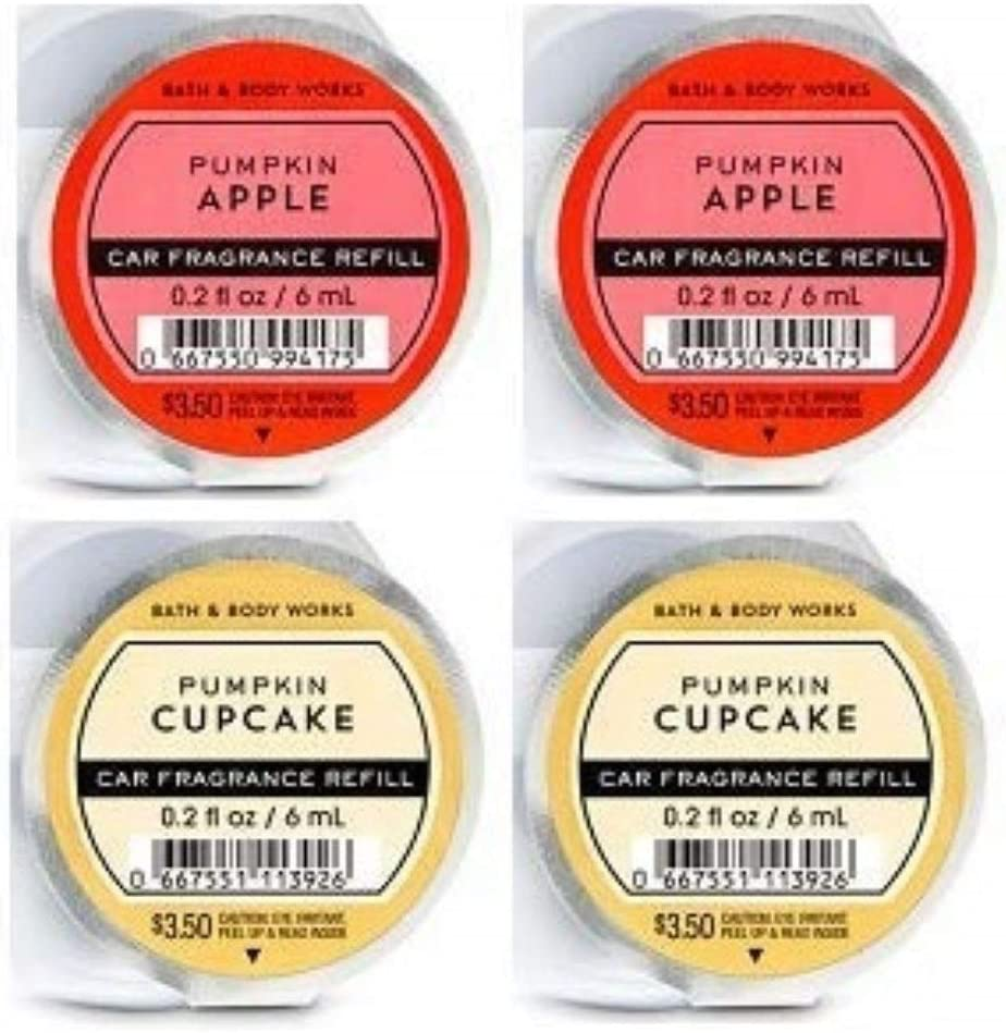 Bath and Body Works 4 Pack - Pumpkin Apple and Pumpkin Cupcake Scentportable Fragrance Refill. 0.2 Oz.