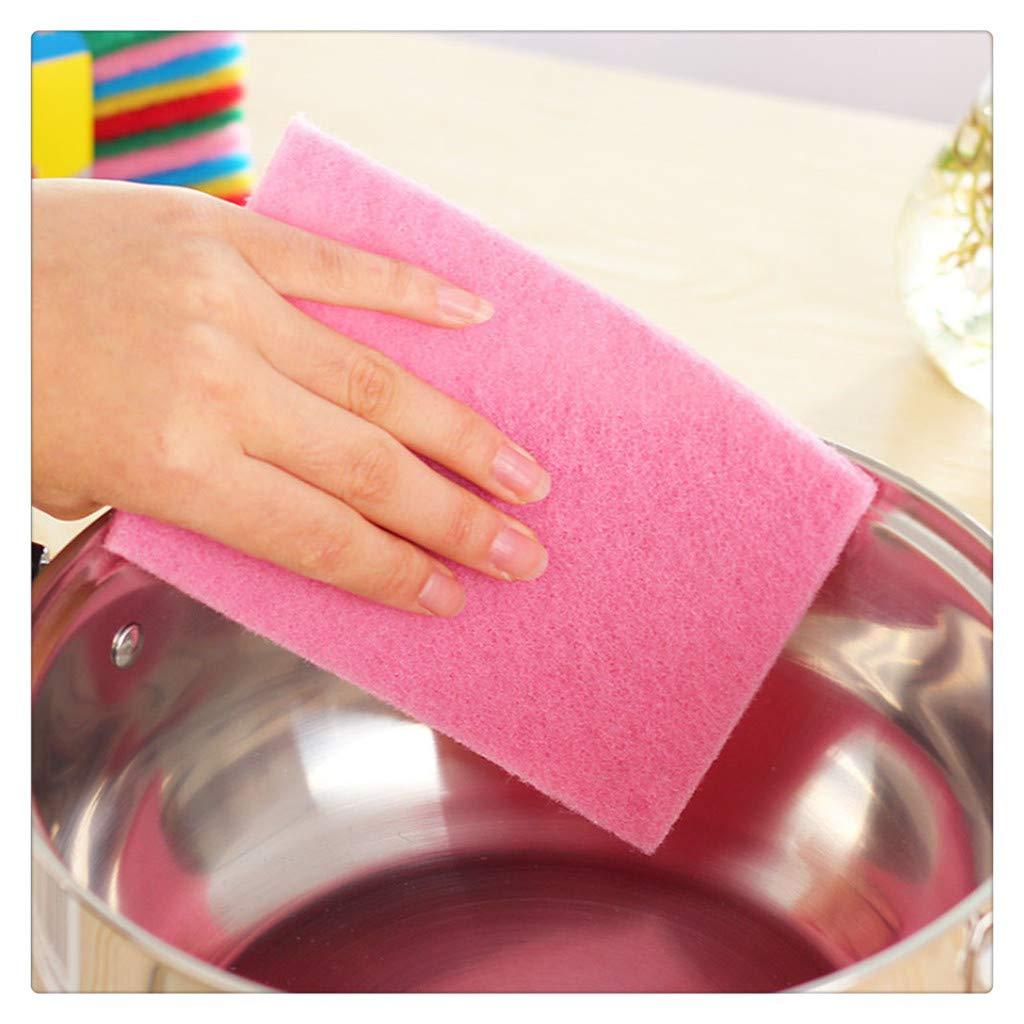 FRCOLT 10PCs New Kitchen Home Good Cleaner Scouring Scour Scrub Cleaning Pads Random Color (10 Pieces, Random Color)