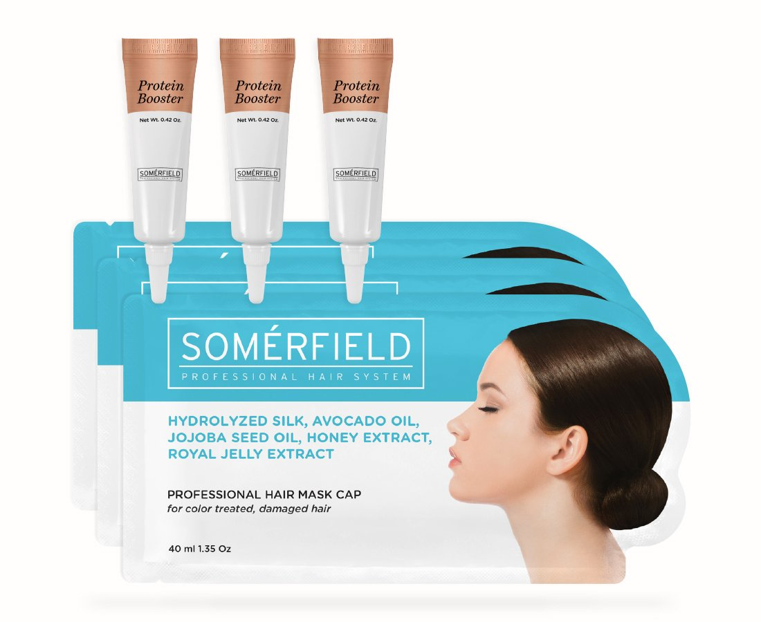 Somerfield Intense 30-Day Restore Hair Mask Bundle | To Strengthen & Restore Damaged Hair | For Colored Treated Hair | Includes 3 Pre-Filled Hair Masks & 3 Protein Booster Tubes