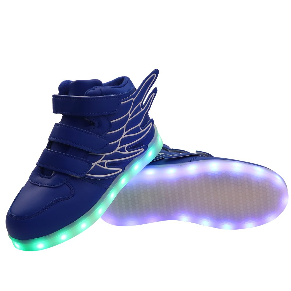 Fuiigo Wing LED Shoes Flashing Sneakers for Kids High Top Velco Shoes