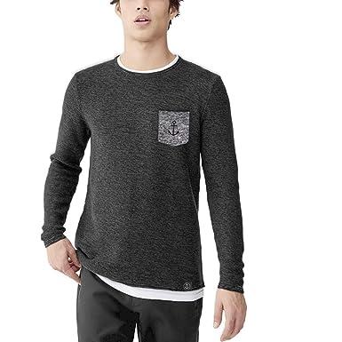VIENTO Thick Pocket Herren T-Shirt Mit Langen Ärmeln (Schwarz, small) 47477e08fc