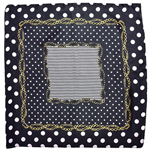 Black White Gold Spotted Printed Fine Small Square Silk Scarf by Bees Knees Fashion (Image #1)