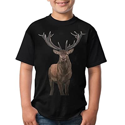 CHENLY Unisex T-Shirt Casual Deer O-Neck Shirt For Child - Black