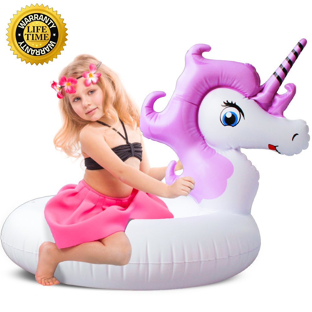 YL-LR Unicorn Pool Float, Unicorn Pool Float for Kids, Inflatable Swimming Pool Float Ride on Water Raft Swim Ring Pool Floaties for Girl Children Boy Beach,Party,and Decoration T(Unicorn Purple)