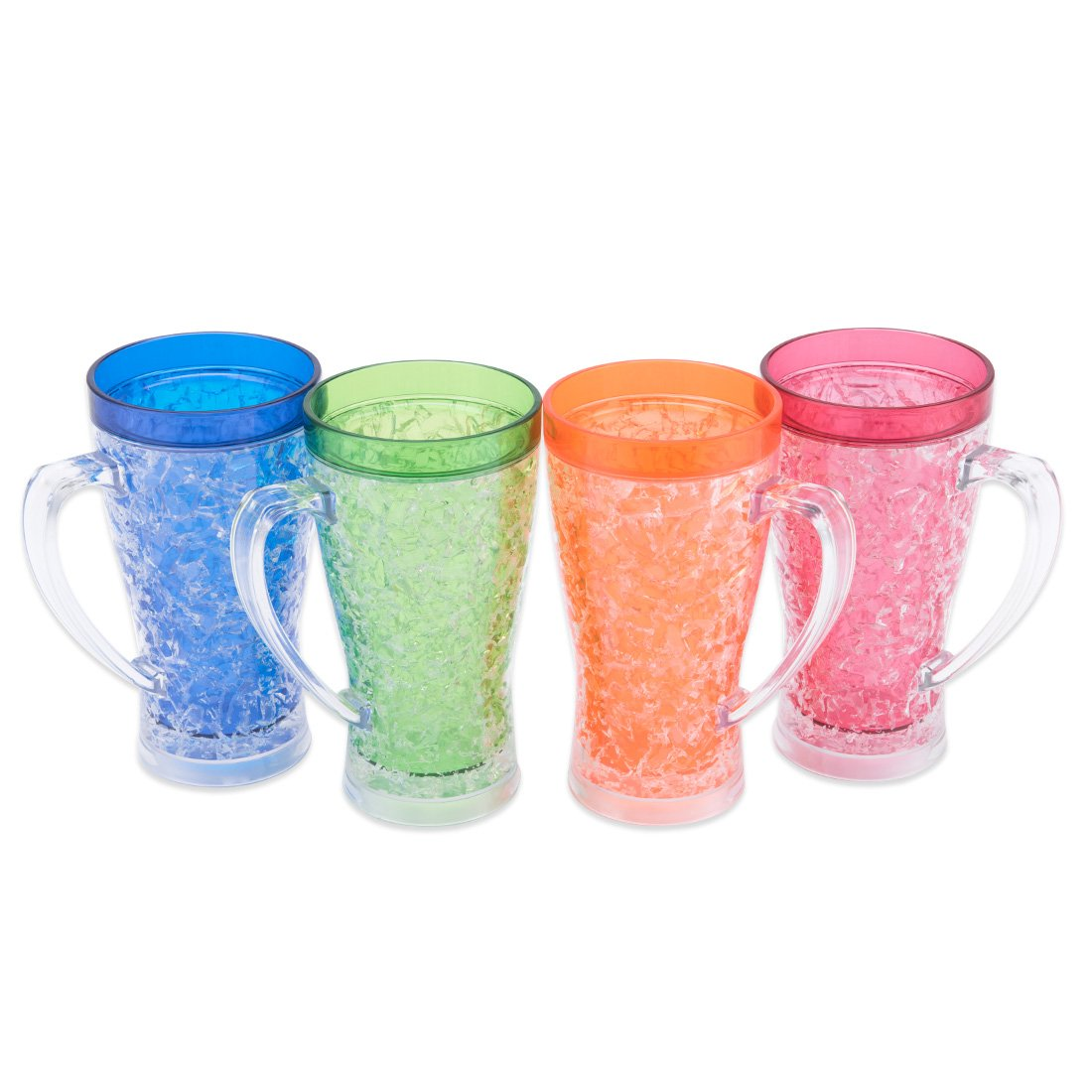 Freezer Mugs, Double Wall Gel Frozen Drinking Cup Frosty Cups with Handles, Enjoying Beer, Soda Lemonade, Water at Parties, Outside Activity(Set of 4, Each for 14 oz)