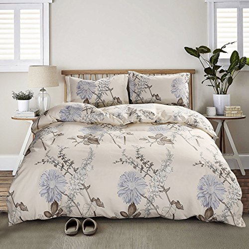 - AMZTOP Floral Duvet Cover Microfiber Twin XL Cream,Reversible Vintage Chic Botanical Garden 3 PCS Dormitory Bedding Sets Twin Girls Comforter Cover Zipper Closure,NO COMFORTER
