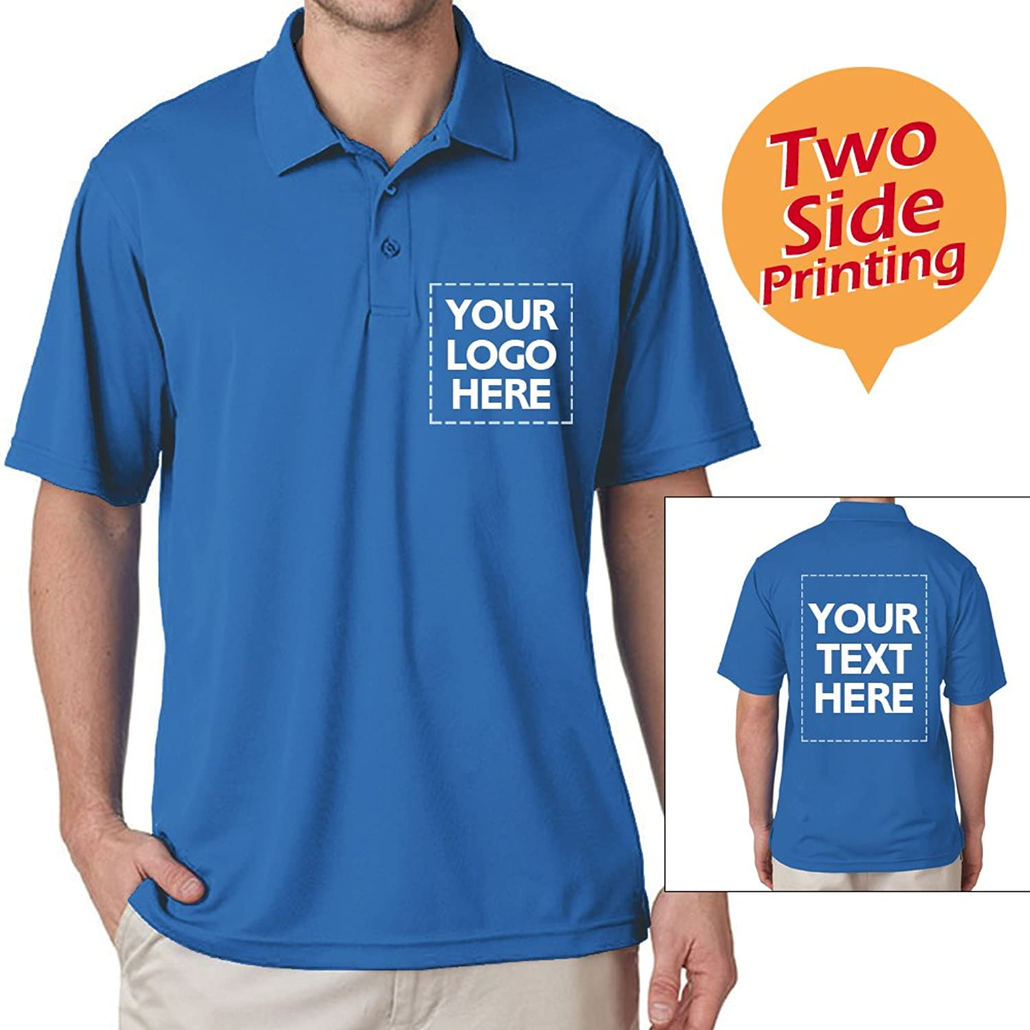 c006ee1a Upload your pictures, text or logos, we can print them in front and back of  polo t-shirts (Not embroidery !). Made of 100% cotton.
