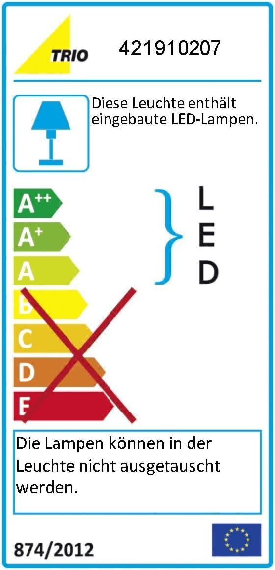 Trio Leuchten LED Fluter Santo II 421910228, Metall rostfarbig antik, Glas alabasterfarbig weiß, 5x 4.5 Watt Nickel Matt