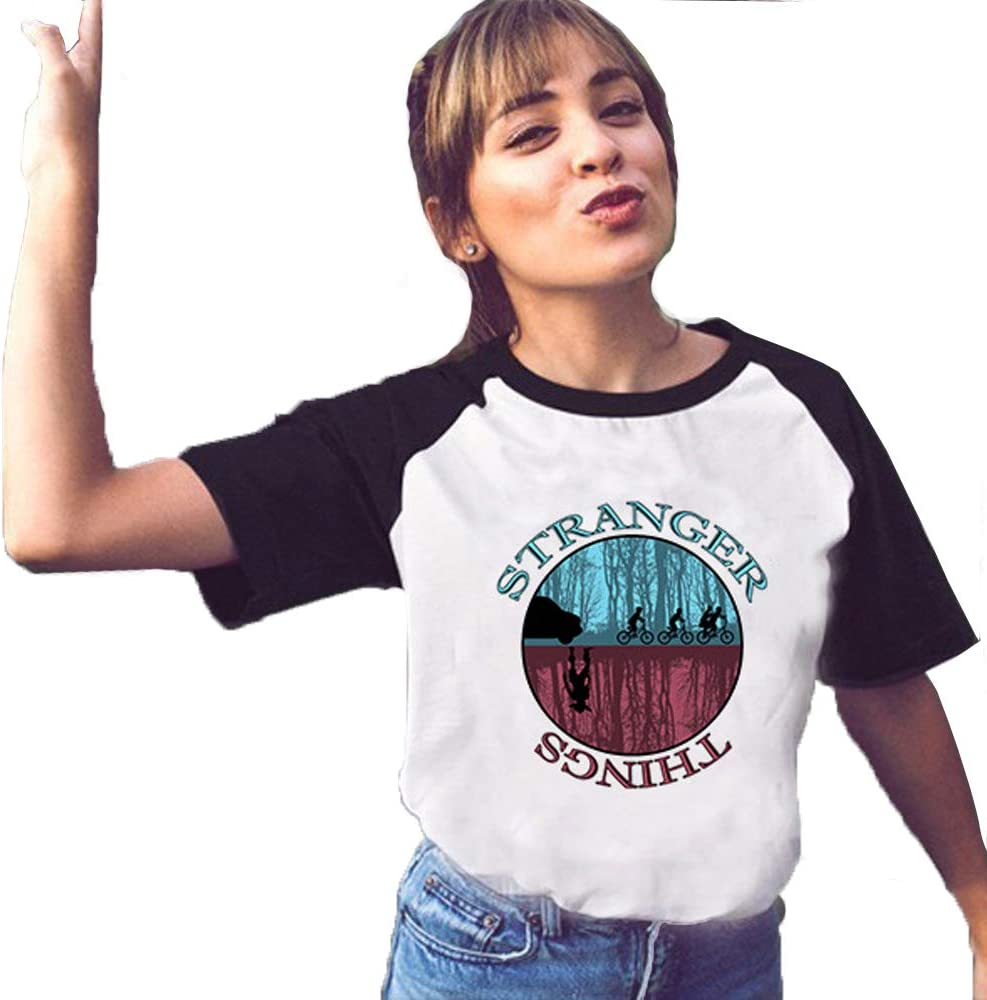 JLTPH Mujer Camiseta Stranger Things Impresión Mangas Raglán Manga Corta T-Shirt Hiphop Tops Street Fashion tee Camisetas Verano para Muchachas y Mujer: Amazon.es: Ropa y accesorios