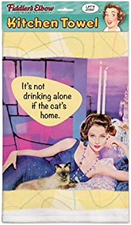 product image for Fiddler's Elbow It's Not Drinking Alone If The Cat's at Home! 100% Cotton, Eco-Friendly Kitchen Dish Towel