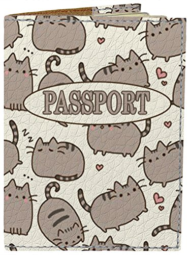 Passport Cover - Holder for Men Women Kids - Designer Vegan Leather Travel Case (Happy Cats)