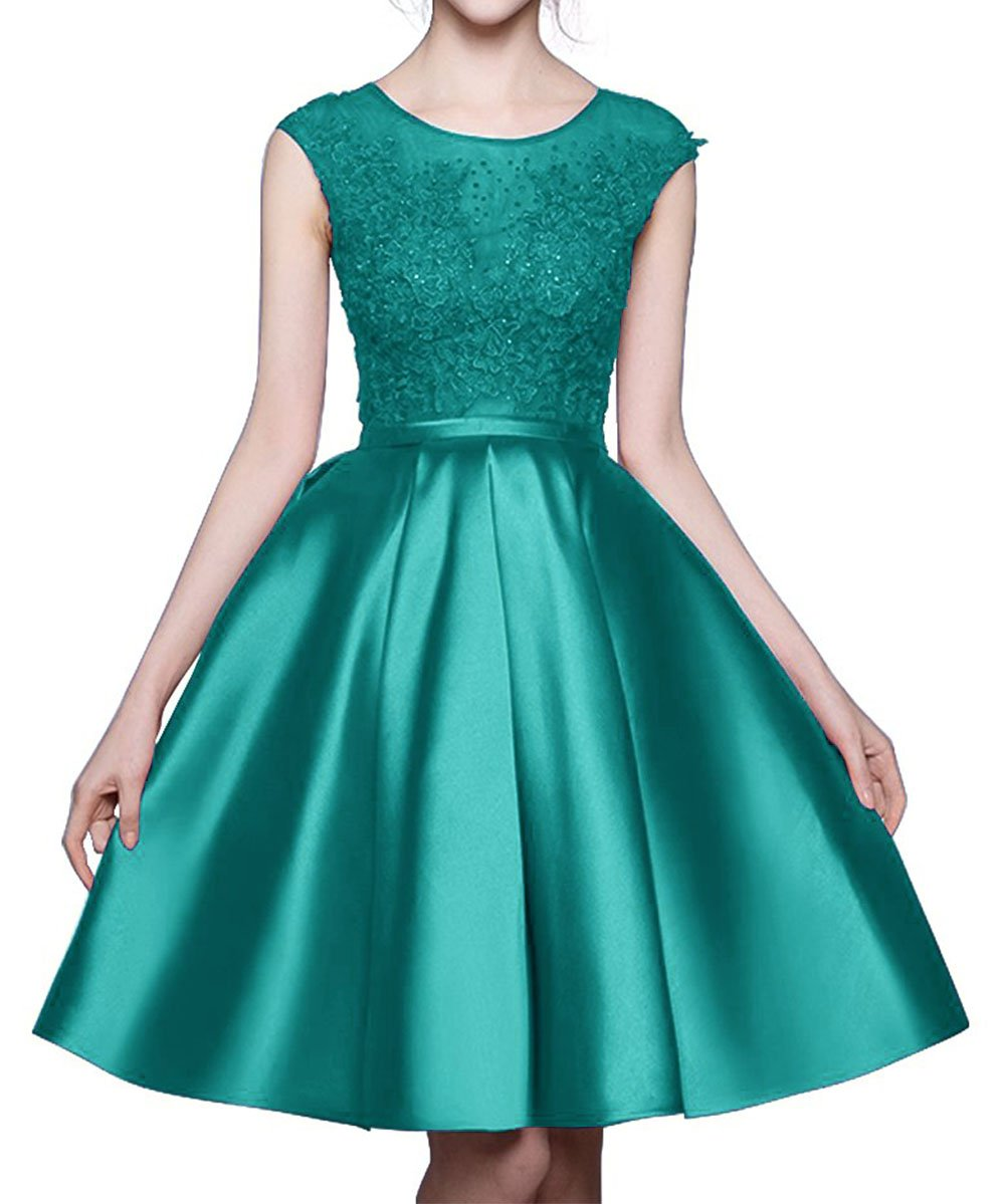 BRL MALL Women's Scoop A line Beaded Evening Prom Dresses Cap Sleeves Short Lace Applique Backless Mini Cocktail Party Gowns Turquoise 24W