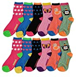 12 Pairs Pack Kids Girls Colorful Creative Fun Novelty Design Crew Socks (4-6, Daily)