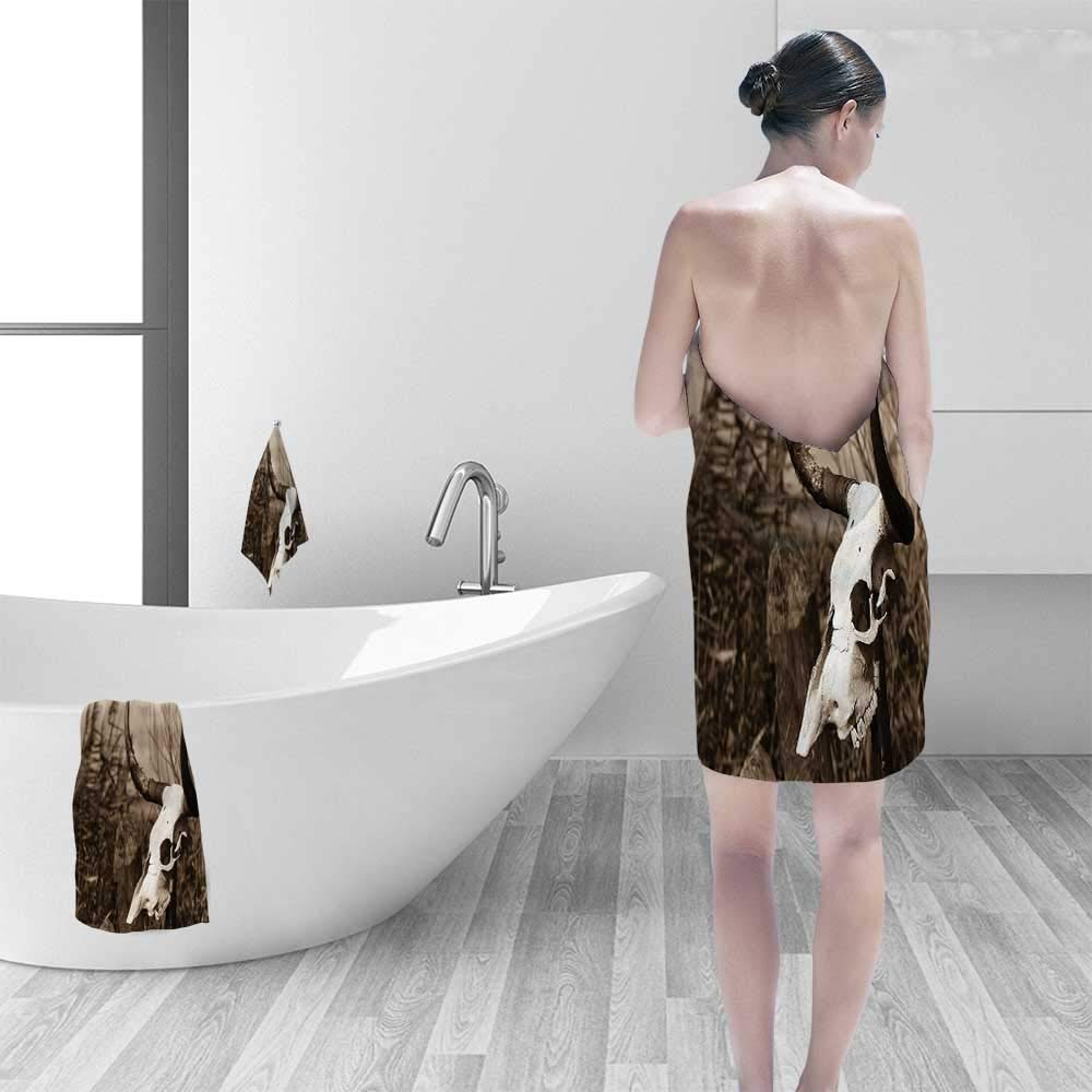 Printsonne Quick Dry Bath towelPhoto of Bull Skull on a Stick Bushes Totem Pagan Native American Myth Absorbent Ideal for Everyday use