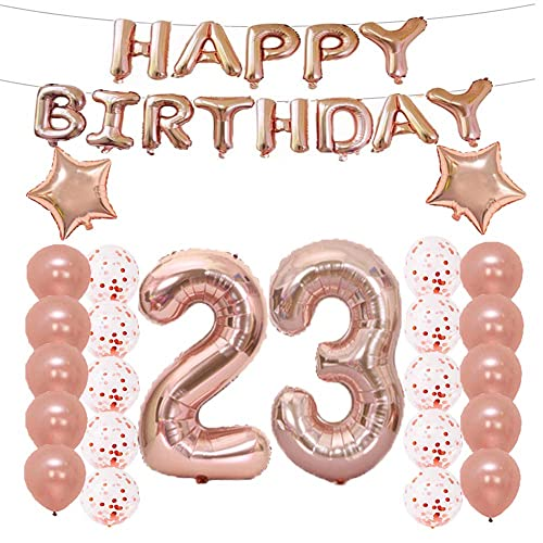 LQQDD 23th Birthday Decorations Party Supplies23th Balloons Rose GoldNumber 23 Mylar