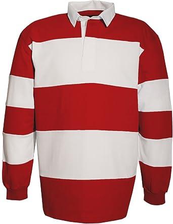SOUL REBEL Polo de rugby-280 g/m² Rojo Blanco XXX-Large: Amazon.es ...
