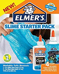 Elmer's 2022897 Glue Slime Starter Kit, Clear School Glue & Blue Glitter Glue, 4 Count