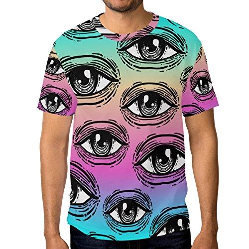 Décontracté shirt Style Coloré Du Alaza Rétro Multicolore Ras Homme Eye Courtes Cou À Manches Dans T Rw4Pq4