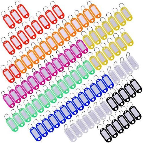 Sunnysam Mehrfarbige Kunststoff Schlüsselanhänger ID Fobs Gepäck ID Etiketten mit Spaltring Schlüsselring, 100 Stück
