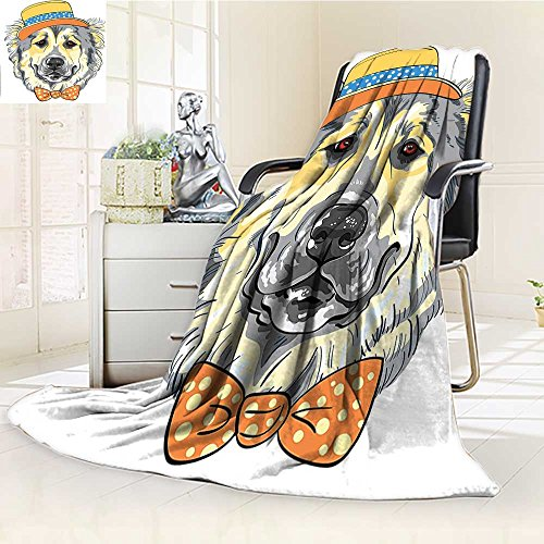 4766c87b207 hot sale 2017 AmaPark Lightweight Blanket Art Style Theme Dog in Hat and  Bow Tie Light Yellow Light Grey Digital Printing Blanket