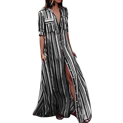 8be57f2c277b9 Manxivoo Women Half Sleeve Button Up Striped Long Maxi Dress Turn-down  Collar Shirt Dresses