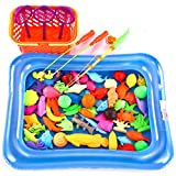 O-Toys 67pcs Bath Toys for Kids Fishing Magnetic Toys Floating Fishing Game Inflatable Swimming Pool Bathtub Toy Set Learning Education Toy Playset
