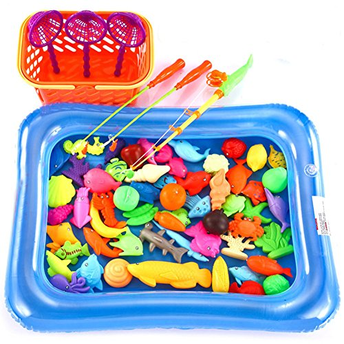 O-Toys 67pcs Bath Toys for Kids Fishing Magnetic Toys Floating Fishing Game Inflatable Swimming Pool Bathtub Toy Set Learning Education Toy Playset ()