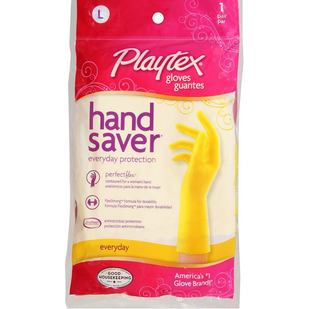 Playtex HandSaver Gloves Everyday Protection Large, 1 Pair (Pack of 3)