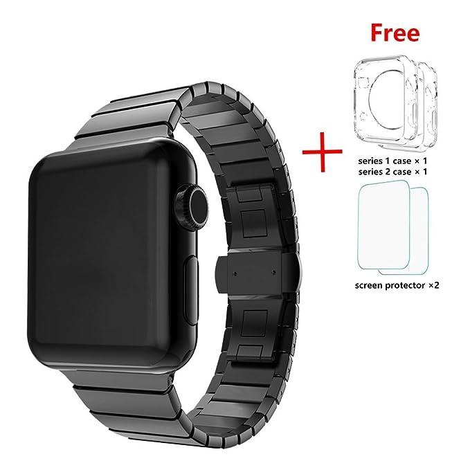86b60df327787 yeejok banda de Apple Watch 42 mm correa de acero inoxidable pulsera de  enlace con cierre