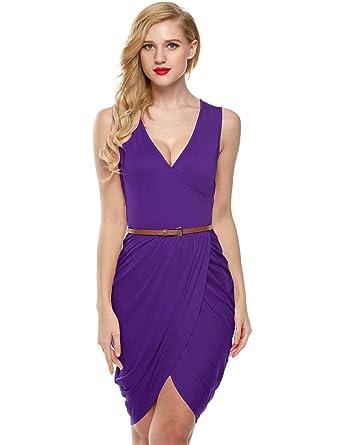 1653de18f2ff Elesol Women Sexy Deep V Neck Mini Dress Draped Ruched Surplice Club Dress  Purple S