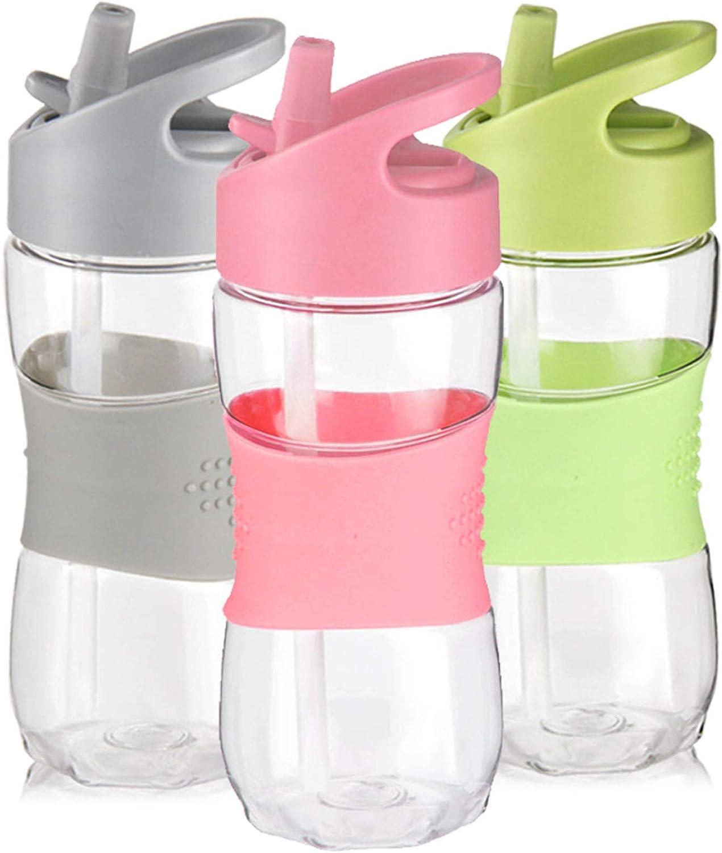 Kids Water Bottle with Straw 12 OZ BPA-Free Tritan Bulk Bottle Sports Clear Drinking Bottle for School