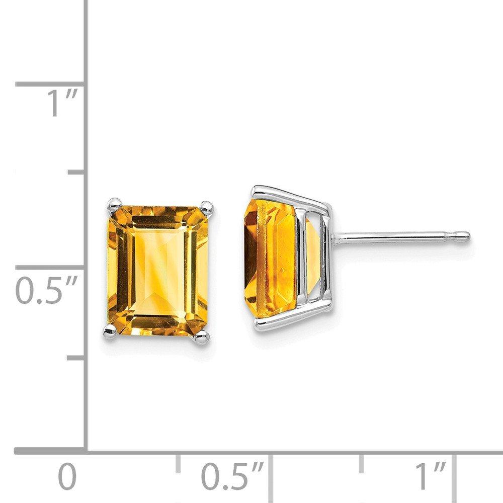 Mia Diamonds 14k White Gold 9x7mm Emerald Cut Citrine Earrings