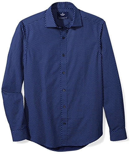 BUTTONED DOWN Men's Tailored Fit Supima Cotton Spread-Collar Dress Casual Shirt, Navy/Blue Flowers, 17-17.5