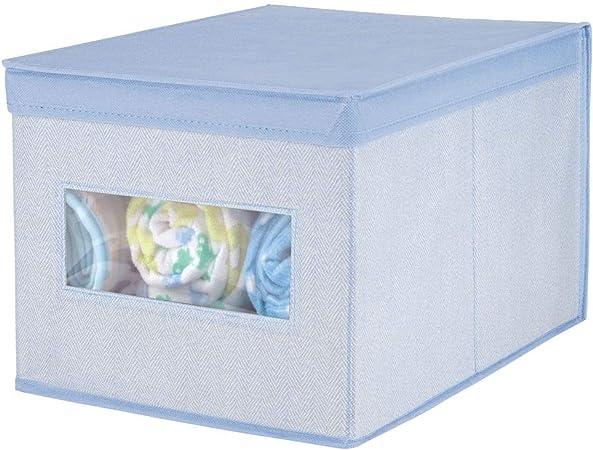 mDesign Caja con tapa apilable para armario, dormitorio y más – Organizador de armario de fibra sintética grande – Contenedor de tela para guardar ropa con tapa y ventana – azul: Amazon.es: Hogar
