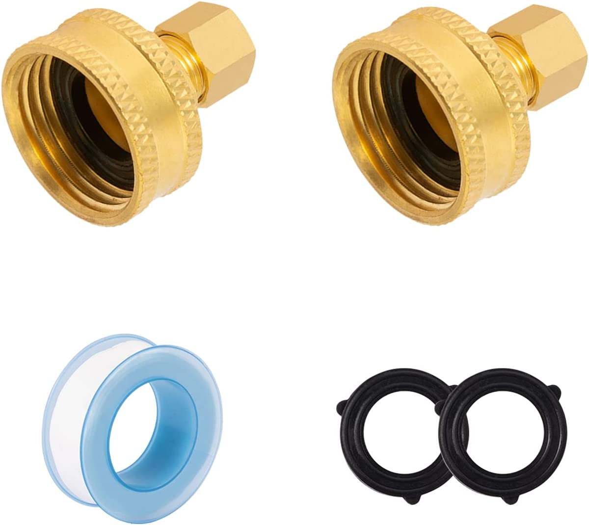 SUNGATOR 2-Pack 3/4 Inch Female Garden Hose by 1/4 Inch Compression Brass Adapter, Lead Free Brass with Extra 2-Piece Rubber Rings and a Sealing Tape