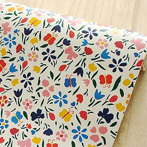 SimpleLife4U Colorful Butterfly Floral Contact Paper Peel & Stick Shelf Liner 17.7 Inch By 9.8 Feet ()