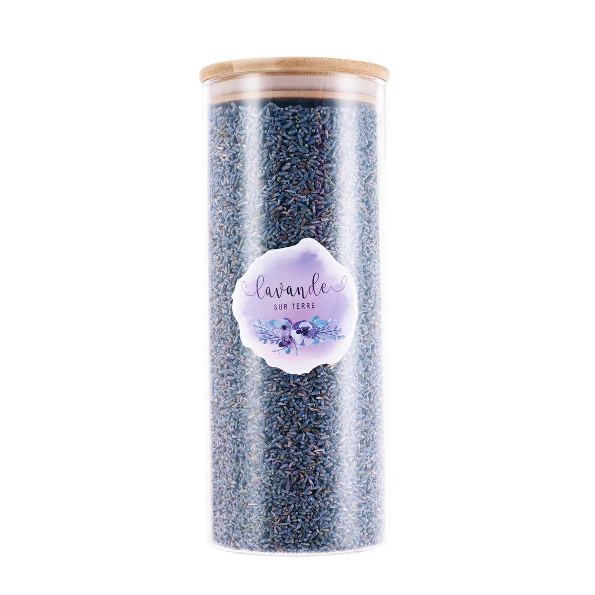 D'vine Dev 8 Cups Ultra-Blue Grade Culinary Lavender in Large Glass Bottle - Highland Grow Dried Lavender Flower Buds with Easy Resealable Huge Glass Bottle - by Lavande Sur Terre by D'vine Dev