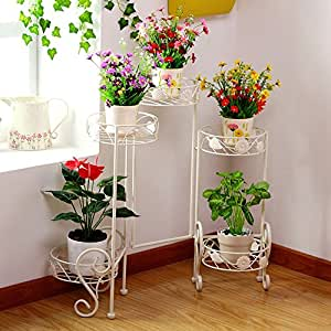 European multi-layer iron flower frame / indoor white pots / floor-style flower pots / balcony tray