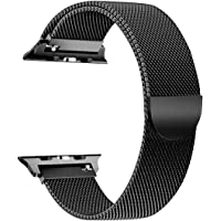 V CAN™ Classy Look Stainless Steel Mesh Milanese Loop Strap with Adjustable Magnetic Lock iWatch Band/Apple Watch Series 4/3/2/1 [44MM] - (Black)