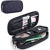 MONSTINA Makeup Bag for Women With Mirror,Pencil Case,Pouch Bag,Makeup Brush Bags Travel Kit Organizer Cosmetic Bag (Black)