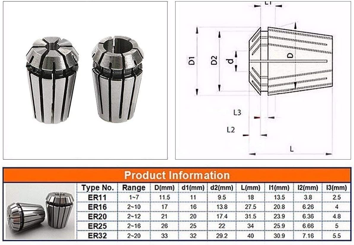 ER16 Chuck Drillpro Precision Spring Collet Set CNC Lathe Tool Workholding New