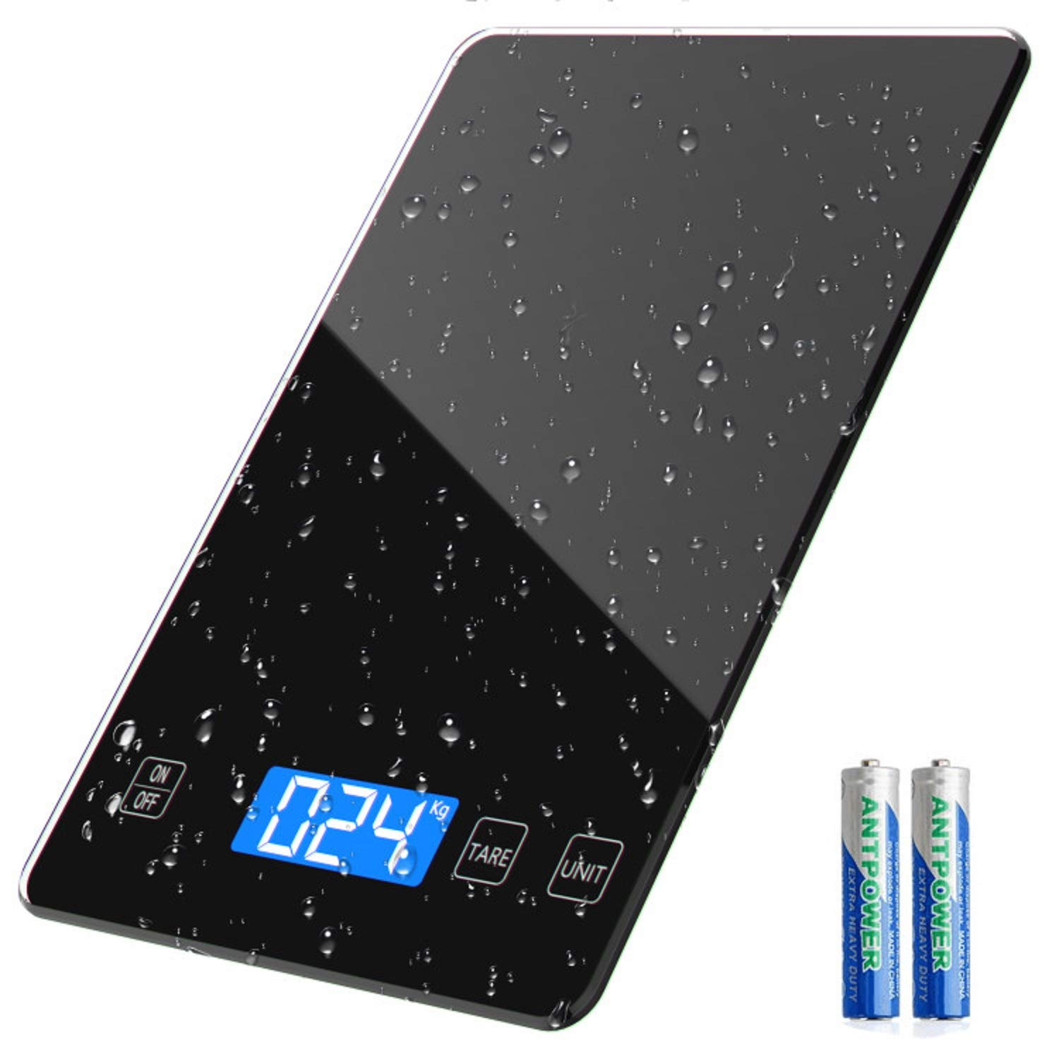 Food Scale, 22lb Digital Kitchen Scale Weight Grams and oz Electronic Scale for Cooking Baking, 1g/0.1oz Precise Graduation, Sleek Tempered Glass Platform with LED Display (Black)