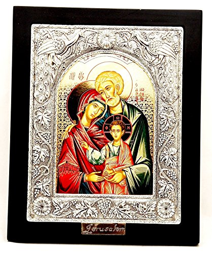 (Large Silver Plated 925 Icon in Wood Frame From The Holyland Jerusalem)