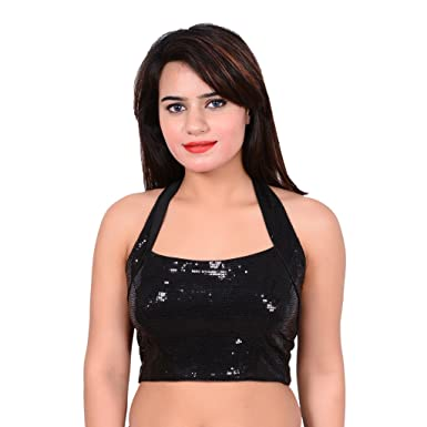 Mangal Black Designer Blouse For Girls And Women Women's Saree Blouses at amazon