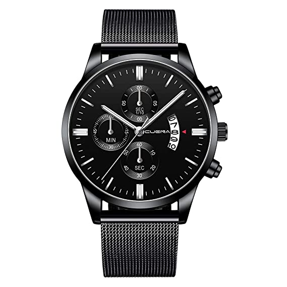 Amazon.com: XBKPLO Quartz Watches Mens Analog Wrist Watch Multifunction Waterproof Calendar Window Temperament Mesh Strap Business Watch Jewelry Gift: Pet ...