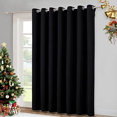 Sliding Door Curtain Window Treatment   Energy Smart Grommet Top Thermal  Insulated Extra Wide Solid Blackout