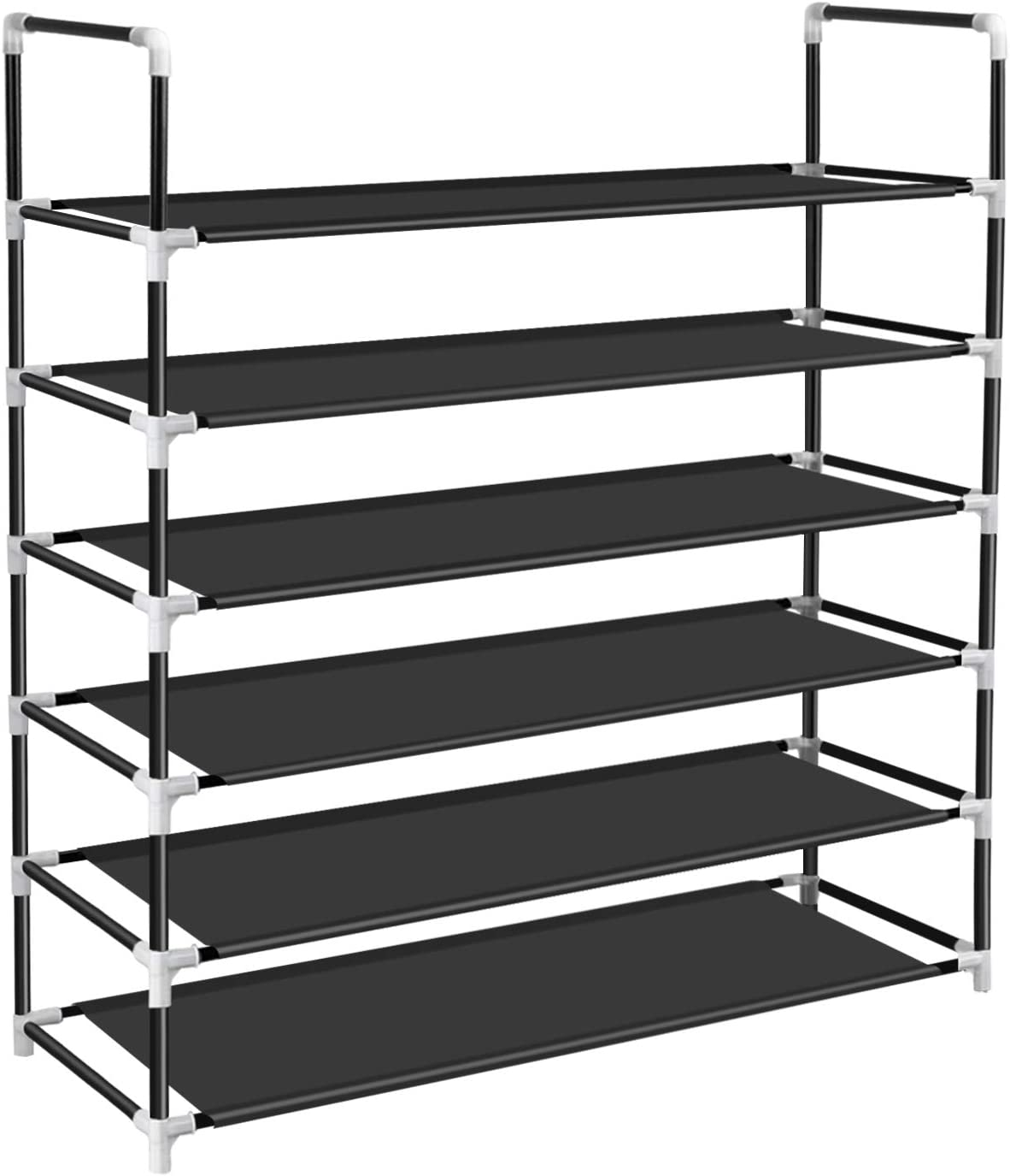 ERONE Shoe Rack Organizer 6 Tier,Shoe Storage for Closets Holds 24 Pairs,Non-Woven Fabric Metal Sturdy Shoe Shelf Tower Cabinet for Entryway