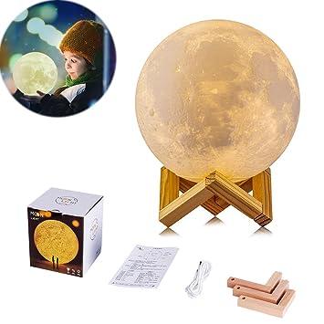 3D Luna Mond Lampe Nachtlampe, Helligkeits-Anpassung, verzaubernde ...