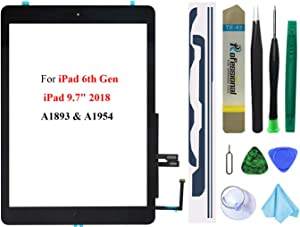 Black Touch Screen Replacement Parts Digitizer Glass Assembly for iPad 6 6th Generation 2018 9.7inch (A1893 A1954) with Home Button(No Support Touch ID)+Pre-Installed Adhesive +Professional Tool Kit